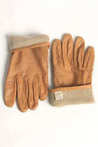 Leather Gloves Womens Vintage Size M Coffee -G617-156689