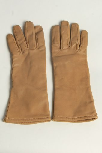 Leather Gloves Womens Vintage Size L Coffee