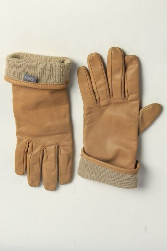 Leather Gloves Womens Vintage Size L Coffee -G618-156693