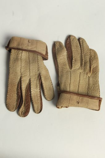 Leather Gloves Womens Vintage Size M Coffee -G619-156697