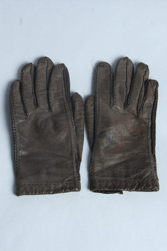 Leather Gloves Womens Vintage Size L Light Brown -G621-156793