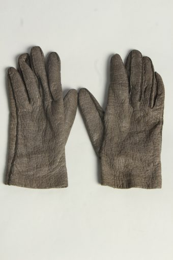 Leather Gloves Womens Vintage Size L Grey -G622-156797