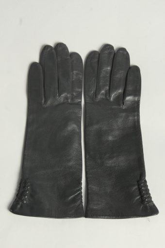 Leather Gloves Womens Vintage Size L Dark Grey -G623-156801