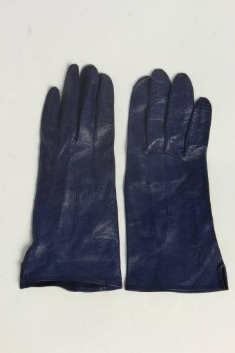 Leather Gloves Womens Vintage Size M Navy -G624-156805