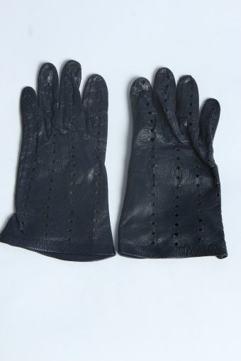 Leather Gloves Womens Vintage Size L Navy -G625-156809