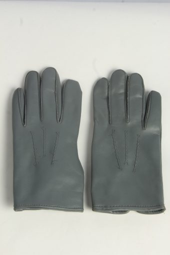 Leather Gloves Womens Vintage Size L Grey