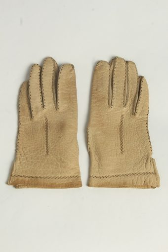 Leather Gloves Womens Vintage Size L Coffee -G631-156833