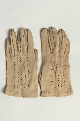Leather Gloves Womens Vintage Size M Coffee -G632-156837