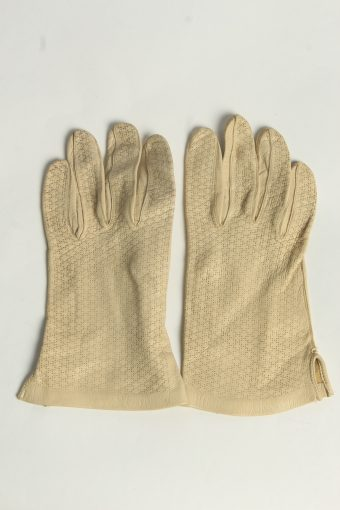 Leather Gloves Womens Vintage Size M Beige -G633-156841