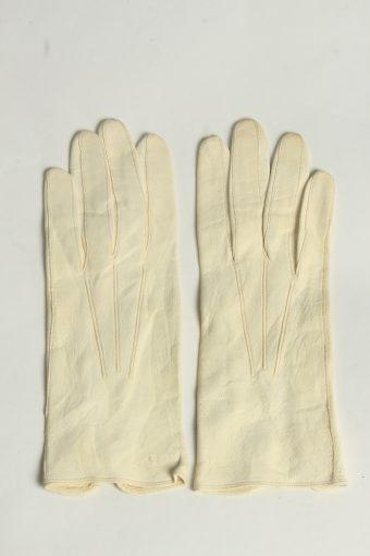 Leather Gloves Womens Vintage Size S Beige -G634-156845