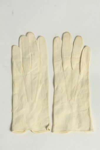 Leather Gloves Womens Vintage Size S Beige