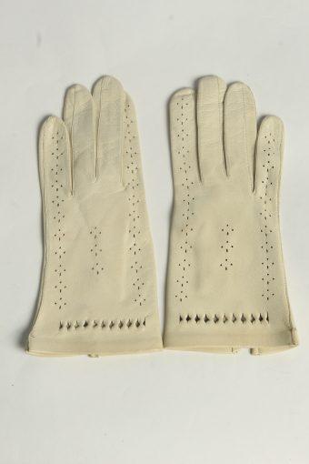 Leather Gloves Womens Vintage Size S Beige -G635-156849