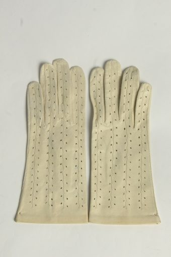 Leather Gloves Womens Vintage Size S Beige -G638-156861