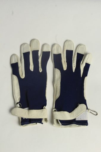 Leather Fabric Gloves Womens Vintage Size L Navy -G640-156869
