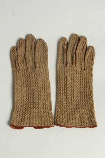 Leather Knitting Gloves Womens Vintage Size M Brown -G641-156873