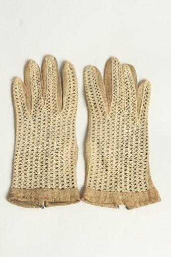 Leather Gloves Womens Vintage Size M Beige