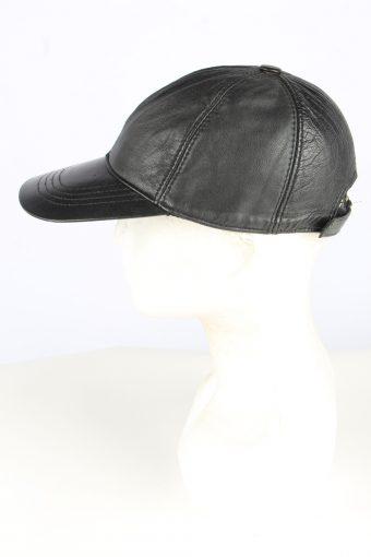 Leather Adjustable Cap Vintage Unisex Black Hat -HAT1947-155239
