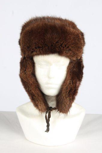 Fur Cossack Lined Hat Vintage Unisex Size M Dark Brown -HAT1948-155695