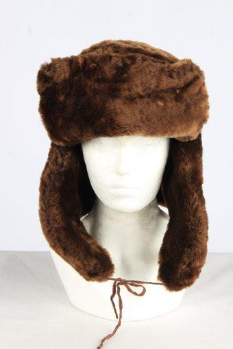 Fur Winter Cossack Hat Vintage Unisex Size XXL Dark Brown -HAT1953-155715