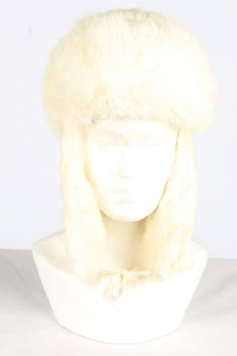 Fur Ushanka Hat Vintage Unisex Size XS White -HAT1957-155731