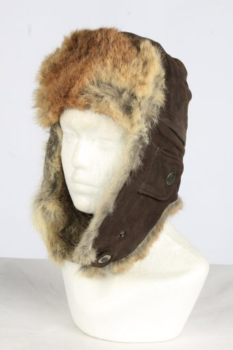 Leather Fur Earflap Lined Hat Vintage Unisex