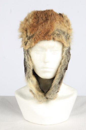 Leather Fur Earflap Lined Hat Vintage Unisex Size M Coffee -HAT1958-155735