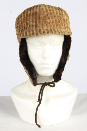Corduroy Trapper Hat Vintage Unisex Size M Beige -HAT1961-155747