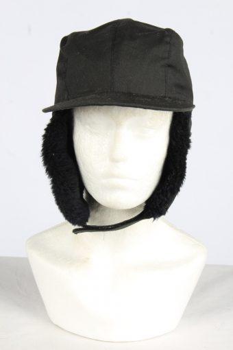 Fur Cossack Cotton Hat Vintage Unisex Size M Black -HAT1963-155755