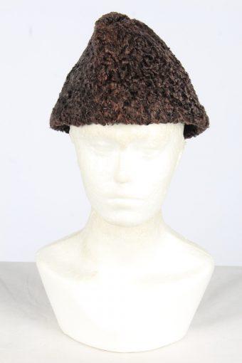 Fur Ushanka Hat Vintage Womens Dark Brown Size M -HAT1982-155831