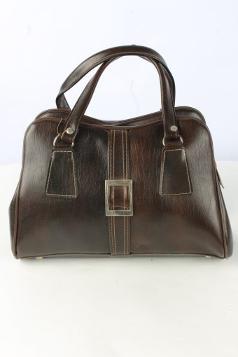 Leather Hand Bag Unisex Vintage CW Marianelli 1990s Brown
