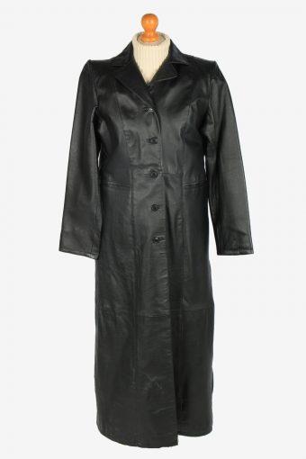 Womens Leather Jacket Overcoats Vintage Size M Black C2366