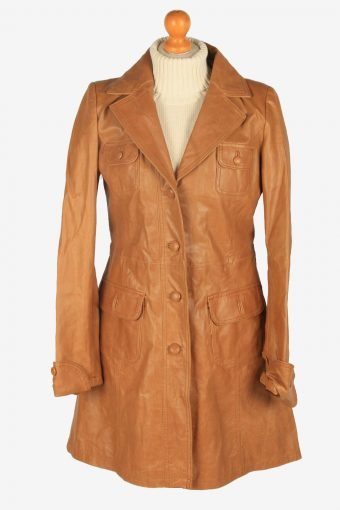 Womens Leather Jacket Overcoats Vintage Size S Brown C2367