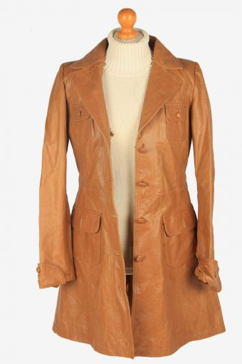 Womens Leather Jacket Overcoats Vintage Size S Brown C2367-157197