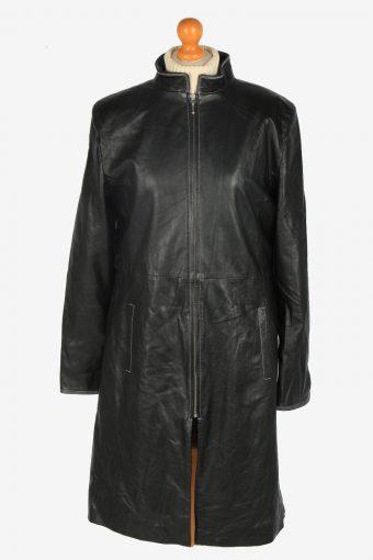 Womens Leather Jacket Overcoats Vintage Size L Black C2368