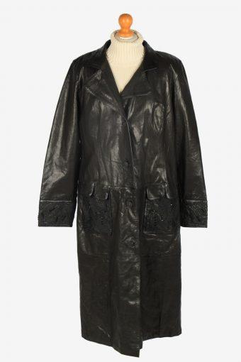 Womens Leather Jacket Overcoats Vintage Size XXL Black C2369