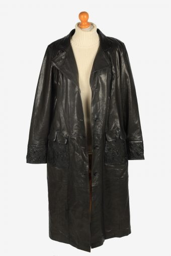 Womens Leather Jacket Overcoats Vintage Size XXL Black C2369-157207
