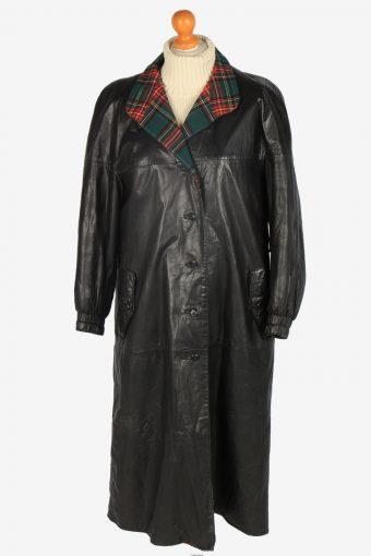 Womens Leather Jacket Overcoats Vintage Size L Black C2370