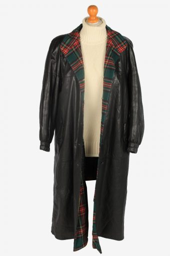 Womens Leather Jacket Overcoats Vintage Size L Black C2370-157212