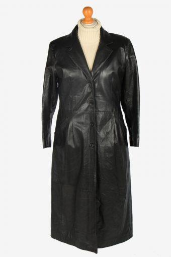Womens Leather Jacket Overcoats Vintage Size M Black C2371