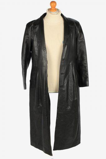Womens Leather Jacket Overcoats Vintage Size M Black C2371-157217
