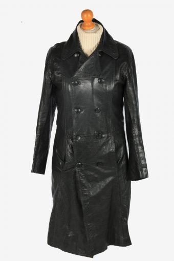 Mens Leather Jacket Overcoats Vintage Size S Black C2373