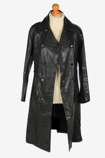 Mens Leather Jacket Overcoats Vintage Size S Black C2373-157227