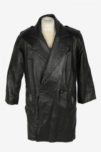 Mens Leather Jacket Overcoats Vintage Size M Black C2376