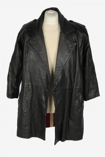 Mens Leather Jacket Overcoats Vintage Size M Black C2376-157242