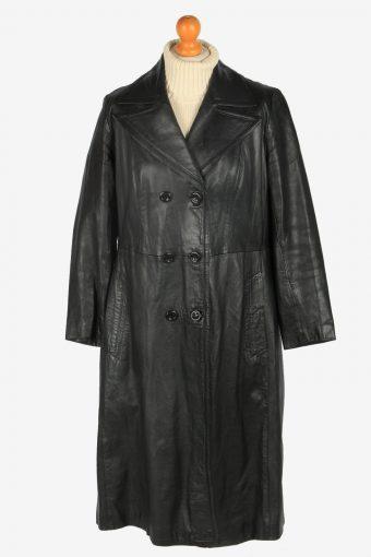 Womens Leather Jacket Overcoats Vintage Size L Black C2380