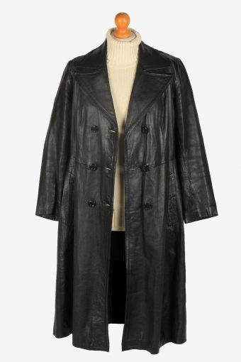 Womens Leather Jacket Overcoats Vintage Size L Black C2380-157262