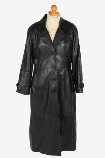Womens Leather Jacket Overcoats Vintage Size L Black C2382