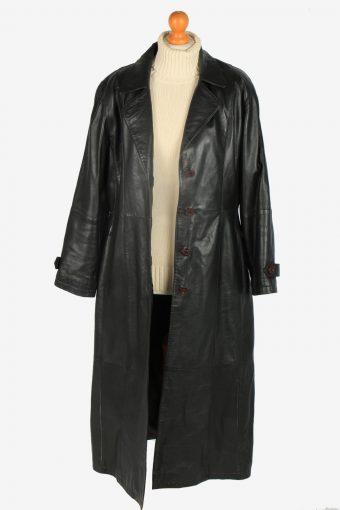 Womens Leather Jacket Overcoats Vintage Size L Black C2382-157272