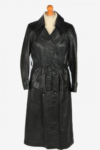 Womens Leather Jacket Overcoats Vintage Size L Black C2384