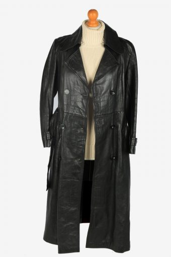 Womens Leather Jacket Overcoats Vintage Size L Black C2384-157282